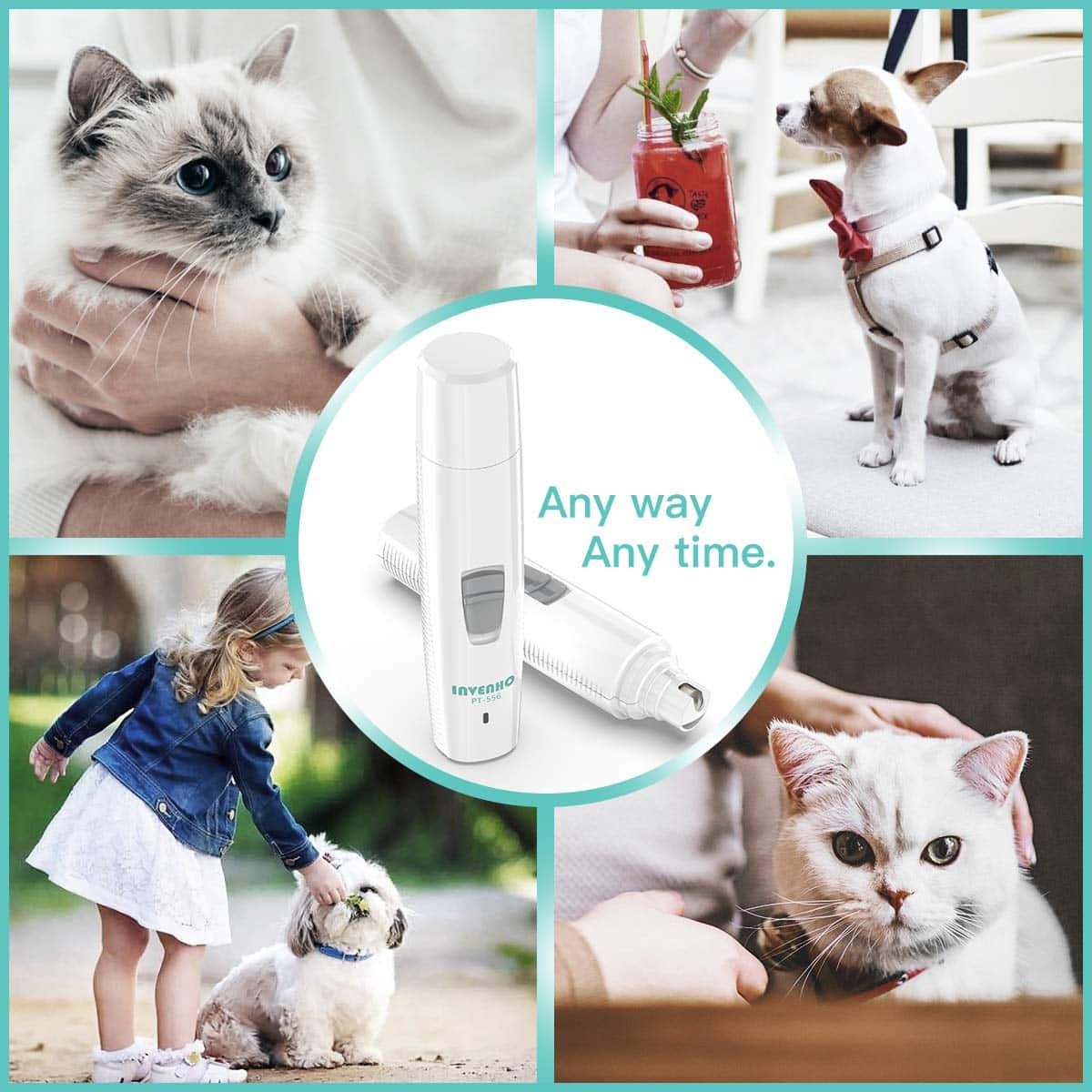 INVENHO Pet Nail Grinder Electric Paw Trimmer Clipper for the Painless Paws Grooming