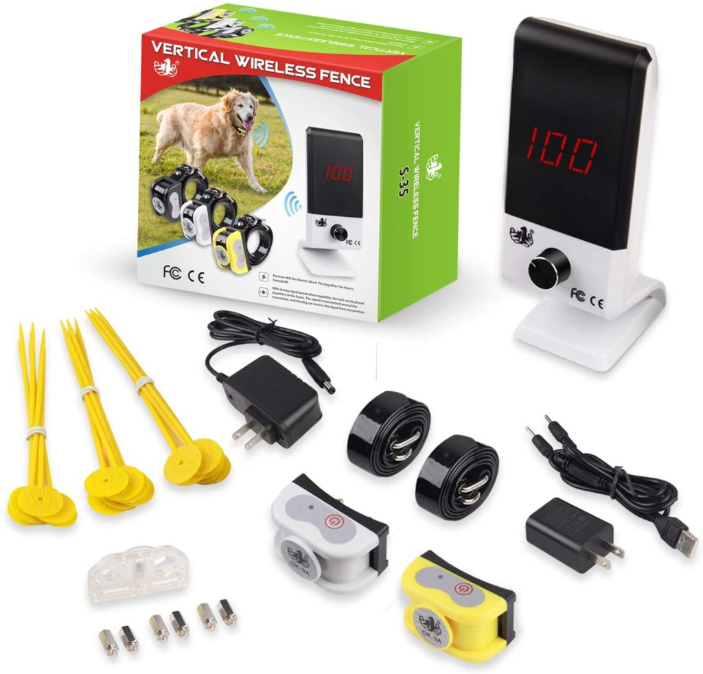 OKPET Vertical Wireless Dog Fence for 2 Dogs